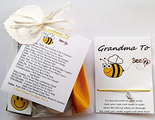 Grandma to Be Survival Gift Kit from The Baby Bump with A Lovely Keepsake Baby Feet Charm Wish Bracelet Included A Great Gift to Congratulate The New Grandma to Be