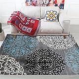 alfombras recibidor Alfombra Azul, Alfombra antiácaros cómoda antifatiga del sofá del Estampado de Flores Alfombra Pelo -Azul_El 100x120cm