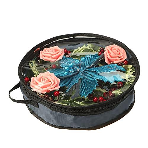 KHBNHJ Bolsa de almacenamiento de corona de Navidad, bolsa de almacenamiento de corona de Navidad, con asa para Navidad, Halloween, Acción de Gracias, coronas artificiales, gris, 60 x 15 cm