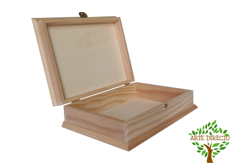 ARTE-DIRECTO Caja Madera para Decorar con Tapa | 27 x 19 x 4 cm ...