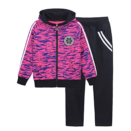 SXSHUN Mädchen Jogginganzug Kinder Sportanzug Trainingsanzug 2tlg Bekleidungsset Sweatjacke + Jogginghose, Gelberot, 122/128(Etikettengröße:130)