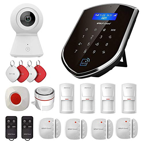 Sistema de alarma inteligente para el hogar con cámara de Wolf-Guard WM2GR, sensor de ventana y de puerta, detector de movimiento, botón SOS, RFID, 2 G GSM, doble red