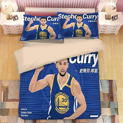 QWAS Juego de ropa de cama de baloncesto, funda nórdica deportiva, ropa de cama, 100% microfibra, 3 piezas (L5,140 x 210 cm + 80 x 80 cm x 2)