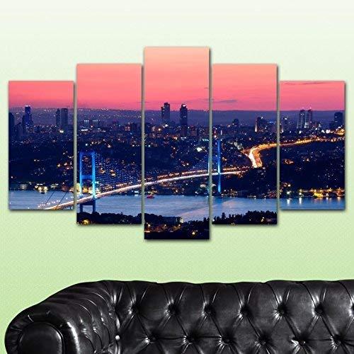 Bedibuy wandfoto, MDF, stadslandschap, portrait Night B-4129 afbeelding, 5 stuks MDF-plaat, stadslandschap