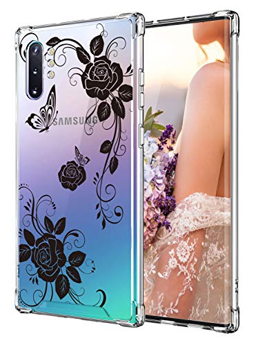 Cutebe Case for Galaxy Note 10 Plus, Shockproof Series Hard PC+ TPU Bumper Protective Case for Samsung Galaxy Note 10 Plus/5G 2019 Release Black Flowers
