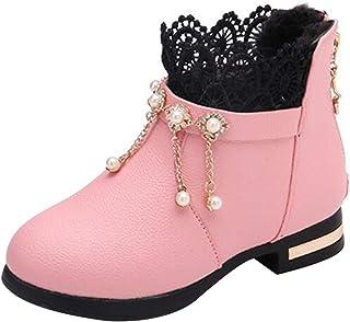 Inlefen Girls' Princess Shoes PU Party Wedding Low Heel TPR Anti-slip Soles Back Zipper Women's Shoes