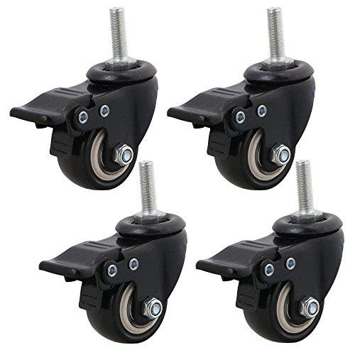 Ruote girevoli di ricambio, bloccabili con freno, in poliuretano, resistenti, fino a 240 kg di peso, M8 x 25 mm, 4 pezzi, per carrelli o mobili, nero