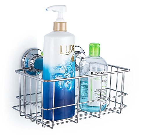 SANNO Suction Shower Caddy, Deep Bathroom Basket Suction Cup Large Shower Caddy Bath Organizer Kitchen Storage Basket for Gel Holder Bathroom Storage Shampoo, Conditioner - Rustproof Stainless Steel