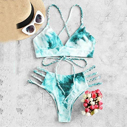 Bikini Tie Dye Bikini Damen Badebekleidung Push Up Badeanzug Dinosaurier Print Badeanzug Bandage Sexy Sommer Badeanzug Weiblich S B4258Gr