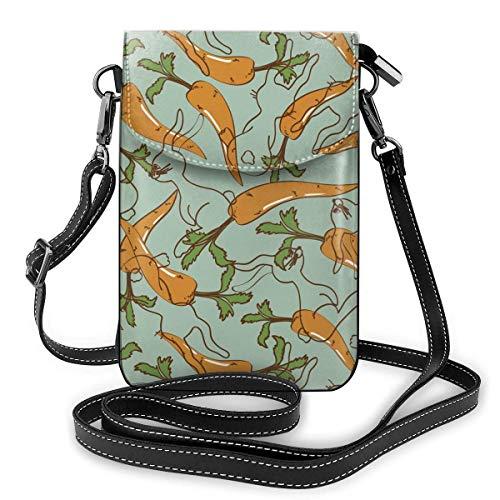 Lawenp Monedero de cuero para teléfono, conejos y zanahorias Bolso bandolera pequeño Mini bolso para teléfono celular Bolso bandolera para mujer