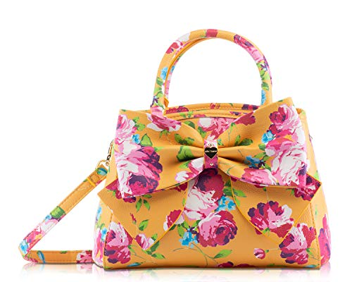 """Trendy Floral printed body with oversized front bow center Betsey Johnson signature heart plate Double Top handles with 4.5"""" drop, Detachable cross body strap with 20"""" drop Open top with center trigger clasp closure, Gold color hardware, Flat Bottom ..."""