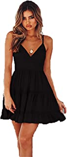Leomodo Women Sexy Halter Lace Sling Princess Dress Summer