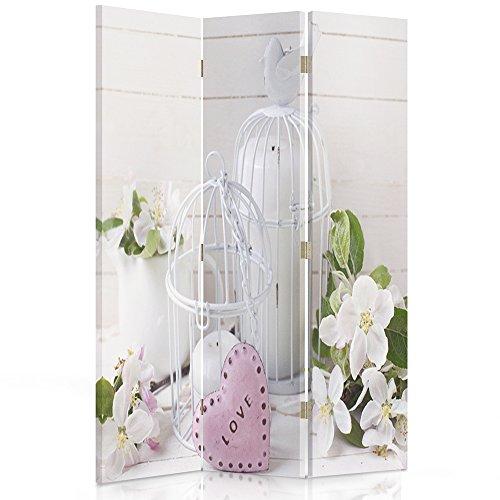 Feeby Frames Paravent déco Fleurs Impression 1 Face 3 Panneaux Beige 110x150 cm