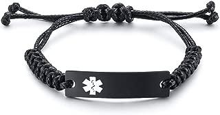 VNOX Free Custom Engraving Braided Rope Emergency Medical Alert ID Identification Bracelet for Women Men Kids,4-9 Inches