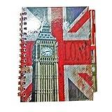 Big Ben et Union Jack Carnet et Stylo - Design Assorti / Effet Vieilli / Notes / Drapeau Britannique / Souvenir de Londres Angleterre Royaume Uni