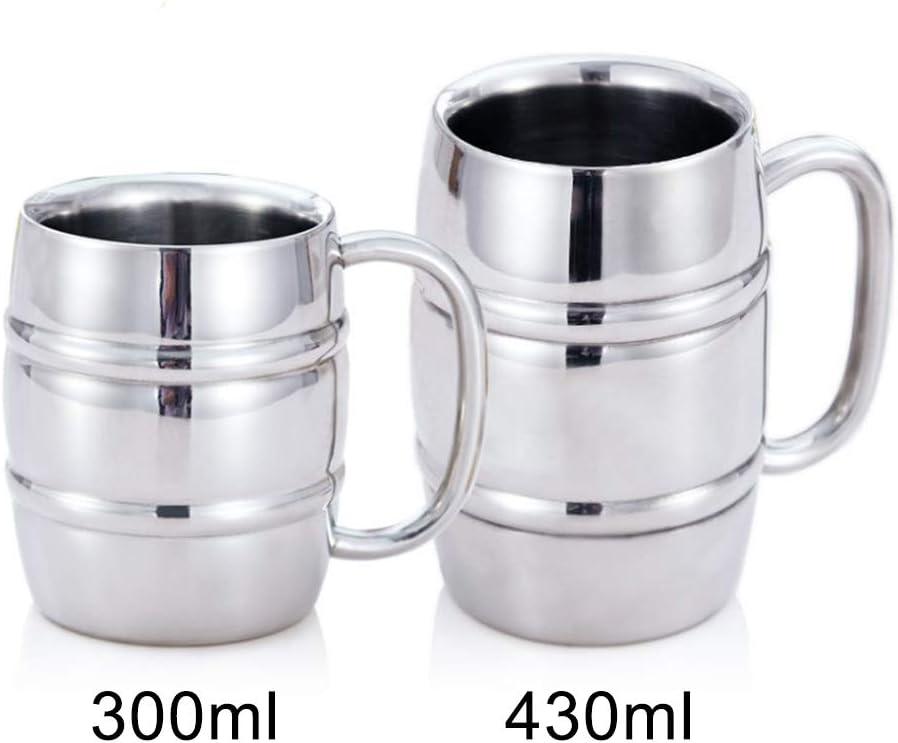 bi/ère. gobelet /à double paroi en acier inoxydable avec poign/ée pour caf/é tasse /à caf/é Chope /à bi/ère th/é