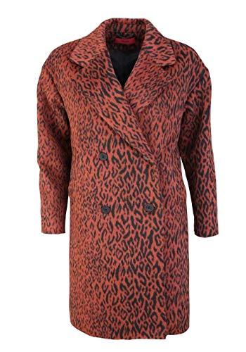 HUGO Langarm Mantel Marca Reverskragen geknöpft Muster rot Größe 36