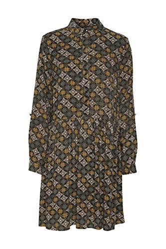 Fransa Maori Kleid mit langen Ärmeln, Fliesenmuster, Misty Rose Mix Gr. Medium,...