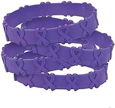 FX 25 Purple Pop-Out Bracelets Pancreatic, Thyroid, Testicular Cancer, Alzheimer's, Animal Abuse Crohn's Disease, Cystic Fibrosis, Lupus, Fibromyalgia, Domestic Violence