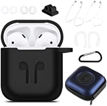 AirPods Case Cover, 9 in 1 Case Airpods Accessories Protective Silicone Skin Compatible for Apple Earpods with Airpods Watch Band Holder/Ear Hook/Anti-Lost Stap/Clip /Keychain/Grip-Black