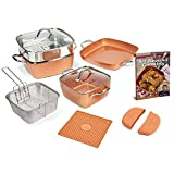 Copper Chef Non-Stick Cookware Set, Caseserole Pots, Pans, and Accessories - 12-Piece Set