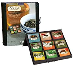 SAMPLE OUR BELOVED TEAS AND TISANES: 5 bags each of Breakfast Blend, Aged Earl Grey, Golden Chai, Mate Lemon, Jasmine Green, Gunpowder Green, Rooibos, Moroccan Mint, Chamomile Lemon in a lovely sustainable bamboo tea chest. SAMPLER PACK: This assorte...