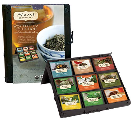 Numi Organic Tea World of Tea Variety Gift Set, 45 Black, Green, Mate & Herbal Tea Bags in Bamboo Chest (Packaging May Vary), 45 Count
