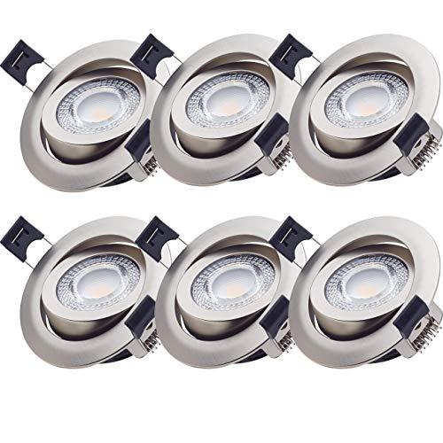 6er Set Oktaplex Einbaustrahler Paris5 3000K Warmweiß 5W Ra > 90 LED Spot 230V Einbauleuchte Flach Einbautiefe 30mm Deckenspot Nickel Gebürstet Schwenkbar 68mm