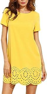 DMZing Vestido de Moda para Mujer, Casual, Suelto, sólido, Cuello Redondo, Manga Corta, Dobladillo Hueco, Color Amarillo
