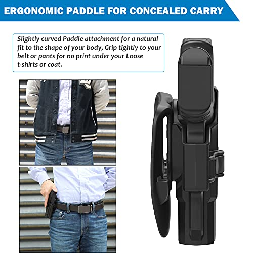 OWB Holster for Beretta 92 92FS 92S 92G M9 M9_22, Tactical Outside Waistband Open Carry Paddle Belt Holster Also for Taurus PT92 with Release Button 60° Adjustable Cant, Right-Handed