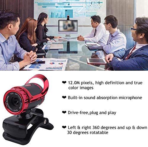 HD Webcam,Richer-R 12.0M Pixel Web Cam Camera HD Webcam mit Mikrofon,USB Digital Video HD Webcam mit 360 ° Drehständer,Unterstützt CC2000,AIM,Netmeeting,ICQ,MSN usw. (Red)