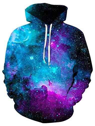 ALISISTER Herren Damen Hoodies Jungen Mädchen 3D Galaxy Druck Langarm Kapuzenpullover Hooded Drawstring Sweatshirt XL