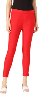 Rapsodia Stretchable Cotton Blend Trouser Pants for Women (Red)