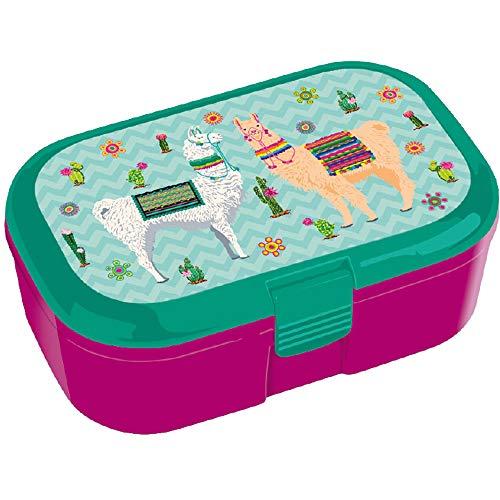 Lutz Mauder Lunchbox * Lama * für Kinder Brotdose mit und ohne Namensdruck   Vesperdose Brotzeit Schule Brotzeitbox Lamas Kindergarten (ohne Name)