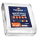 Tarpco Safety Extra Heavy Duty 14 Mil Tarp Cover, Waterproof, UV Resistant, Rip and Tear Proof, Poly Tarpaulin with Reinforced Edges for Roof, Camping, Patio, Pool , Boat (White 6′ X 8′)