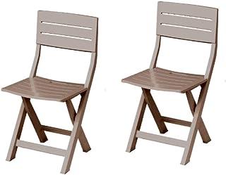 Juego de sillas de jardín plegables, 2 sillas de resina para exteriores, casa, jardín, terraza, balcón, 40 x 44 x 80 cm (color gris)