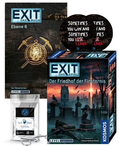 EXIT Das Spiel - Set: Der Friedhof der Finsternis + nivel 6 Libro de bolsillo + 2 x Pegatinas de salida + 1 x Metall-Knobelei