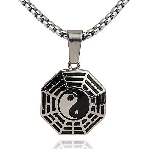DonDon Collana Uomo con Ciondolo Yin Yang in Acciaio Inox 52 cm Argento e Astuccio