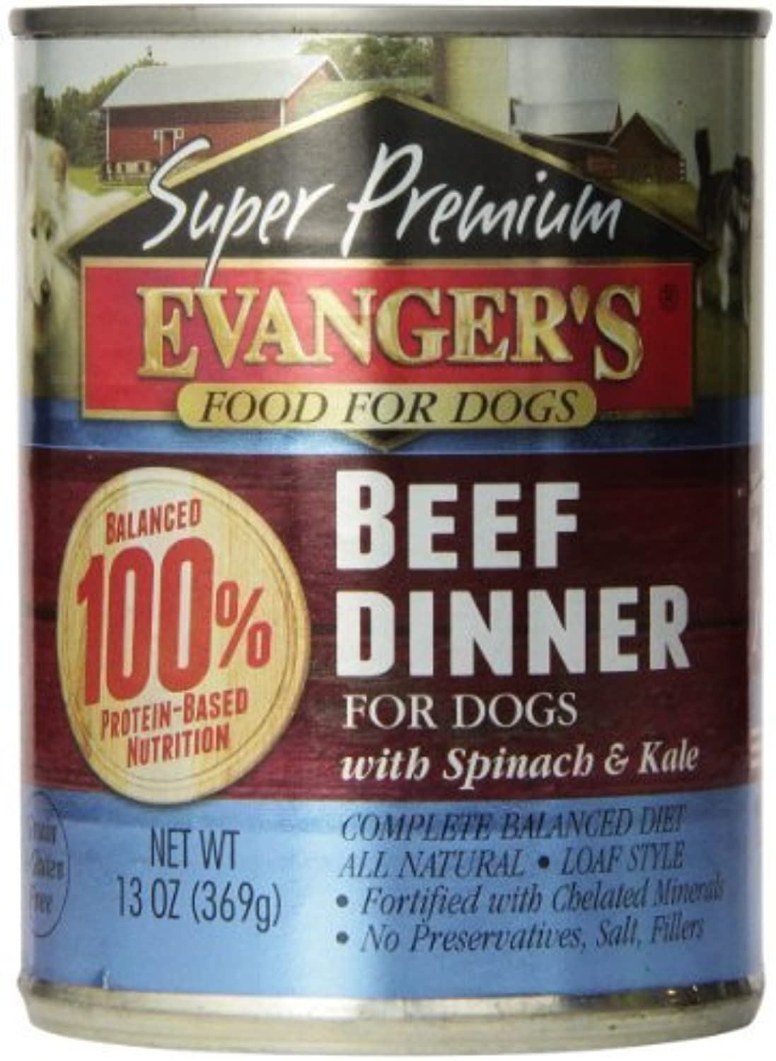 EVANGER'S 776111 12Pack gold Super Premium Grain Free Beef Dinner for Dogs, 13Ounce by Phillips Feed & Pet Supply