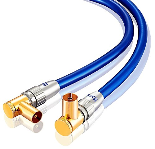 IBRA 0,5m Cavo Antenna Coassiale 90°, (Gomito 90° Coassiale, Classe A, supporta HDTV schermatura effettivo di 100 dB, trasmissione di segnali HD, televisori, ricevitori), Connettori dorati