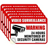 (6 Pack) 24 Hour Video Surveillance Sign, 2½x3½' 4 Mil Sleek Vinyl Decal Stickers Weather Resistant Long Lasting UV Protected and Waterproof Made in USA by Sigo Signs