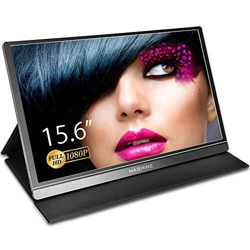 Mashine 15,6 Zoll Tragbarer Monitor 1920 × 1080 Full HD IPS Display Bildschirm mit HDMI für Laptop, MacBook, Xbox, PS4, Switch, Android Phone mit Full-function USB C