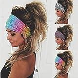 Sethexy Amplio Boho Diademas Wicking Envoltura de la cabeza Yoga Banda para el cabello 3 piezas Elástico Deportes Pañuelo Corriendo Banda para la cabeza para mujeres y niñas