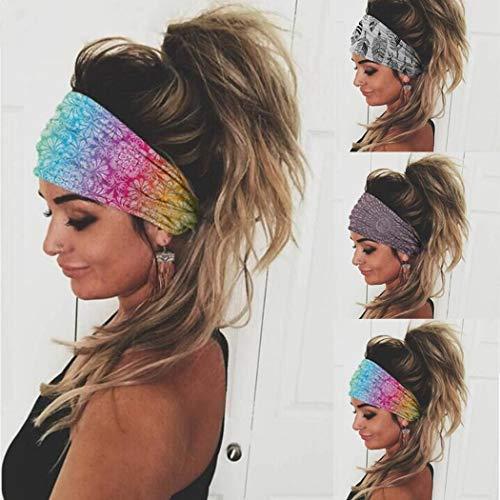 Sethexy Breit Boho Stirnbänder Wicking Kopfwickel Yoga Haarband 3 Stk Elastisch Sport Kopftuch Laufen Stirnband für Frauen und Mädchen