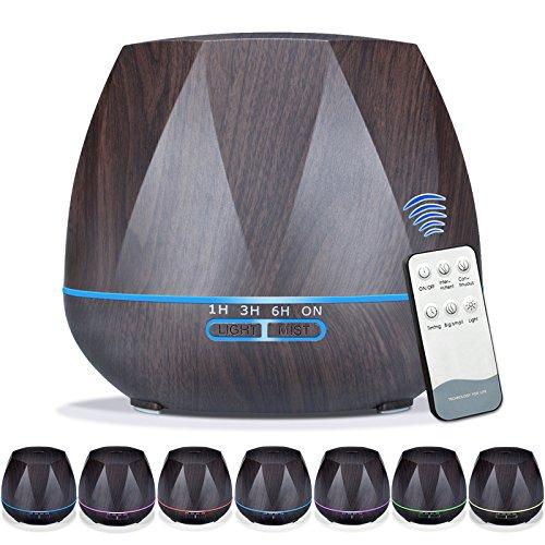 Geurverspreider voor essentiële oliën, 7 kleur veranderende geur lamp 's nachts licht zwarte houtnerf aromatherapie luchtbevochtiger geurolie diffusers met afstandsbediening