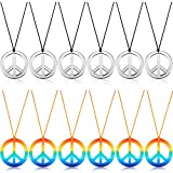 12 Stücke Frieden Zeichen Halskette Frieden Symbol Anhänger Halskette 60s 70s Party Hippie Anhänger Zubehör für Party Täglich Kostüm Zubehör (Silber Farbe und Regenbogen Farbe)