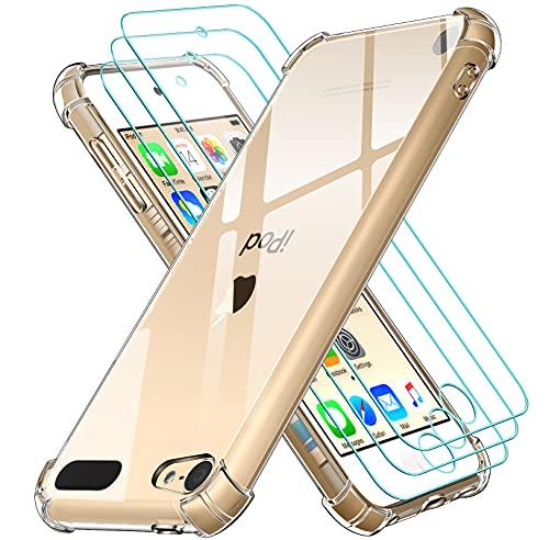 iVoler Cover per Apple iPod Touch 7 e 6 (7ᵃ e 6ᵃ Generazione), Antiurto Custodia con Paraurti in TPU Morbido e 3 Pezzi Pellicola Vetro Temperato, Ultra Sottile Trasparente Silicone Protettiva Case