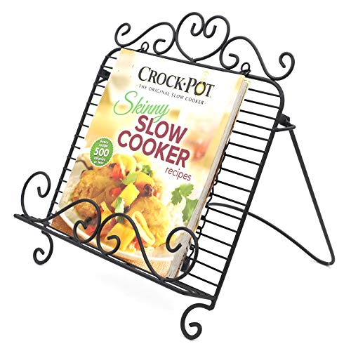 Adjustable Cookbook stand Metal Reading Holder Stand with Weights Clips Foldable Cook Book Stand Kitchen Recipe Cooking Display Rest Stand Holder (Black)