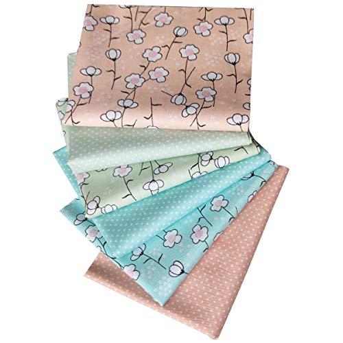 N A - 6 piezas de tela de algodón 100% algodón, con diferentes patrones de patchwork, para manualidades, 46 x 56 cm, tela cortada, cuadrados para costura, artesanía, decoración de flores