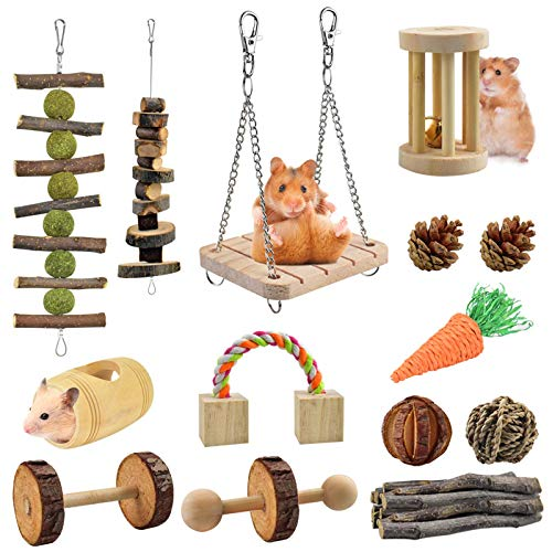 ERKOON 14 Pack Hamster Chew Toys Gerbil Rat Rata Conejillo de Indias Chinchilla Chew Toys Accesorios, Mancuernas de madera natural Ejercicio Bell Roller Cuidado de los dientes Molar Toy para conejos Bird Rabbits Hamster Gerbil